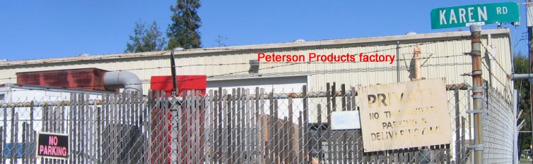 "Peterson Products factory private parking and ""NO PARKING"" signs"