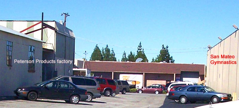 San Mateo Gymnastics parking on side of factory and gym building